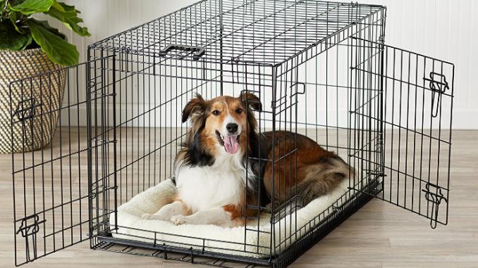 Zusammenklappbarer Hundekäfig mit zwei Türen